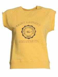 Saint Laurent Sleeveless Logo Top In Yellow