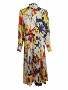 Msgm Tie Neck Printed Dress