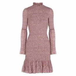 Stella McCartney Floral-print Smocked Silk Chiffon Dress