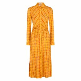 Altuzarra Claudia Checked Jersey Midi Shirt Dress