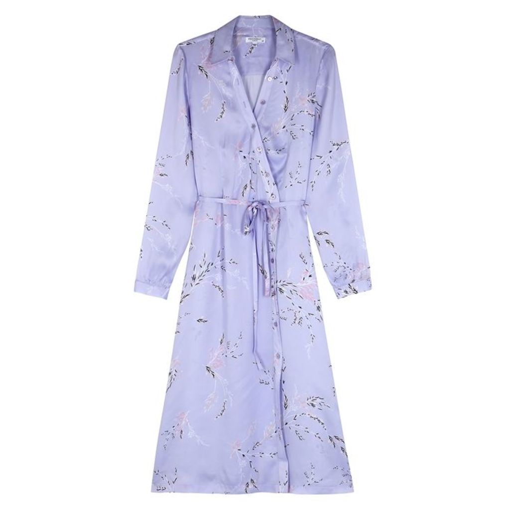 Equipment Fabienne Printed Satin Midi Shirt Dress