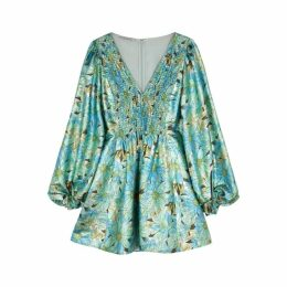 Stella McCartney Green Floral-print Lamé Dress