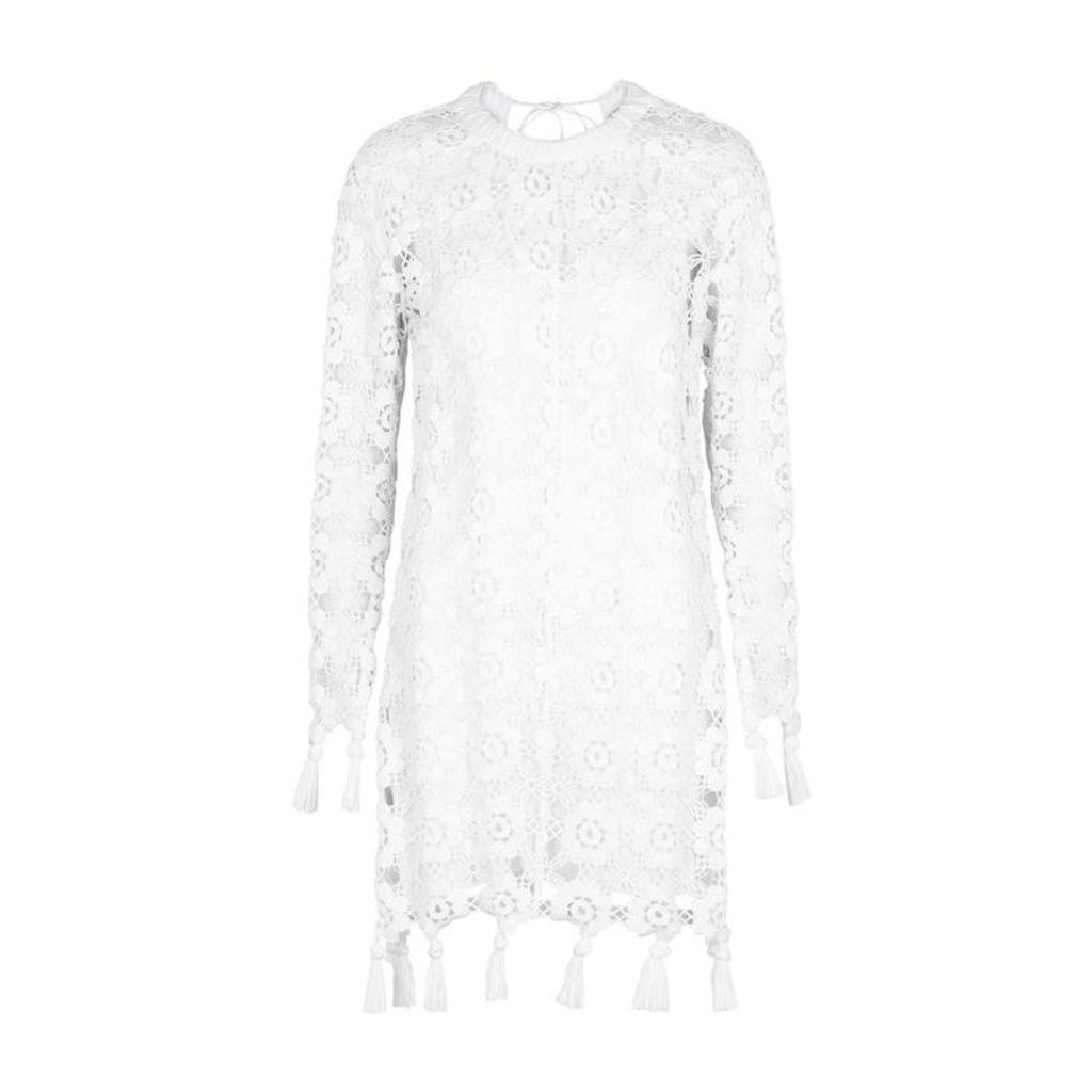Chloé White Tasseled Crochet Lace Mini Dress