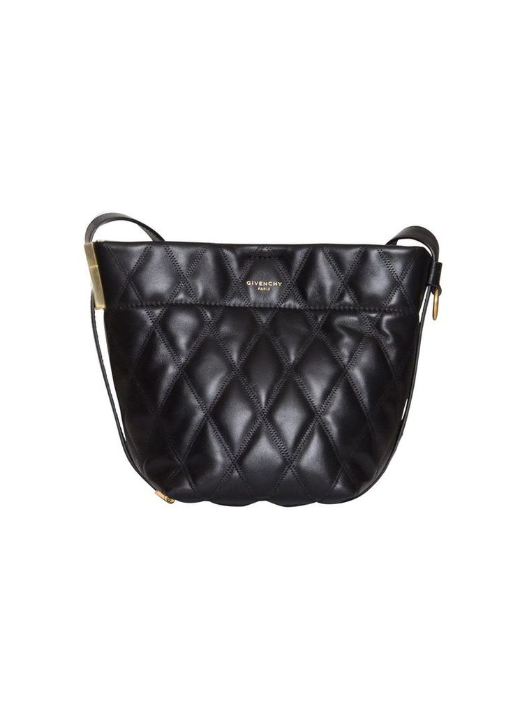 Givenchy Gv Mini Bucket Bag In Matelassé Leather In Black