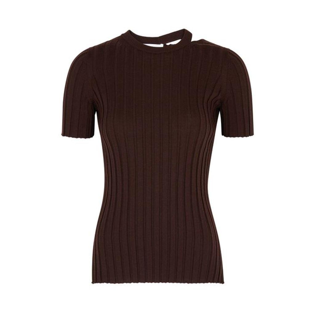 Helmut Lang Chocolate Ribbed Wool T-shirt