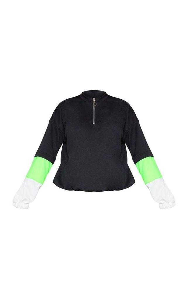 Black Zip Front Contrast Panel Sweater, Black