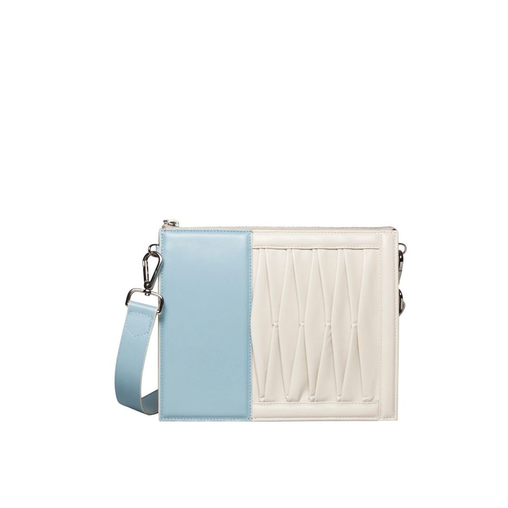 Sabrina Zeng - Infinity Power Shoulder Sky Blue & Off-white Lambskin