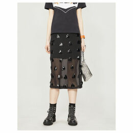 Sequin-embellished sheer chiffon skirt
