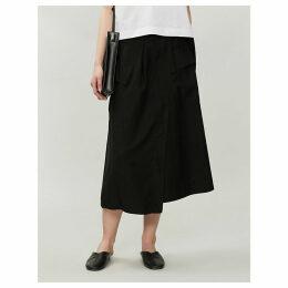 High-waist belted garbadine midi skirt