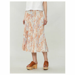 High-waist pleated floral-print crepe midi skirt