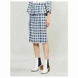 Gingham-patterned denim and linen skirt