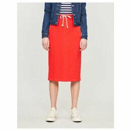 Drawstring-waist cotton-blend jersey skirt
