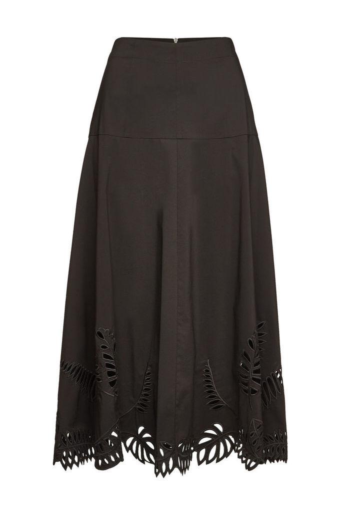 Steffen Schraut Embroidered Midi Skirt with Cotton
