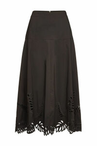 Steffen Schraut Embroidered Midi Skirt with Cotton