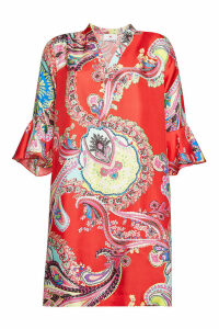 Herzensangelegenheit Paisley Print Silk Dress with Bell Sleeves