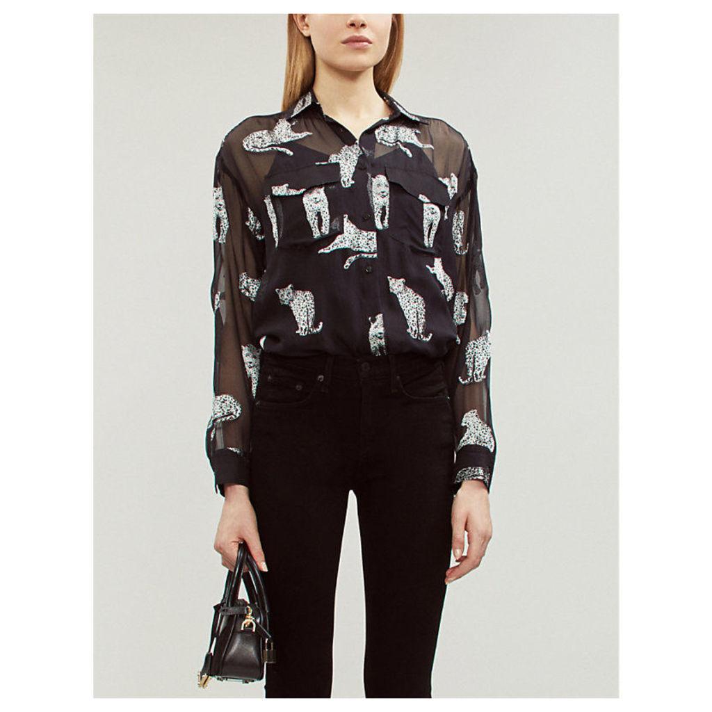 Leopard-print sheer georgette shirt