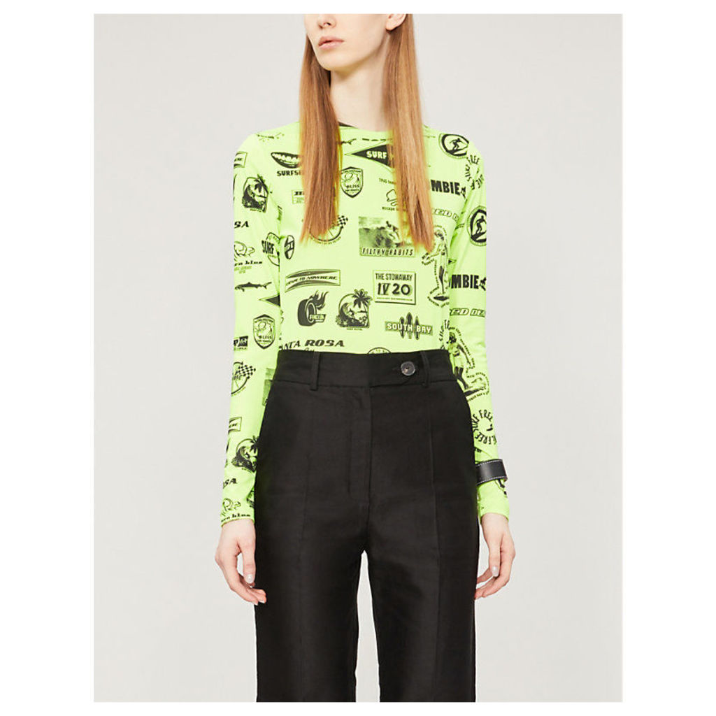 Neon motif-covered stretch-jersey top