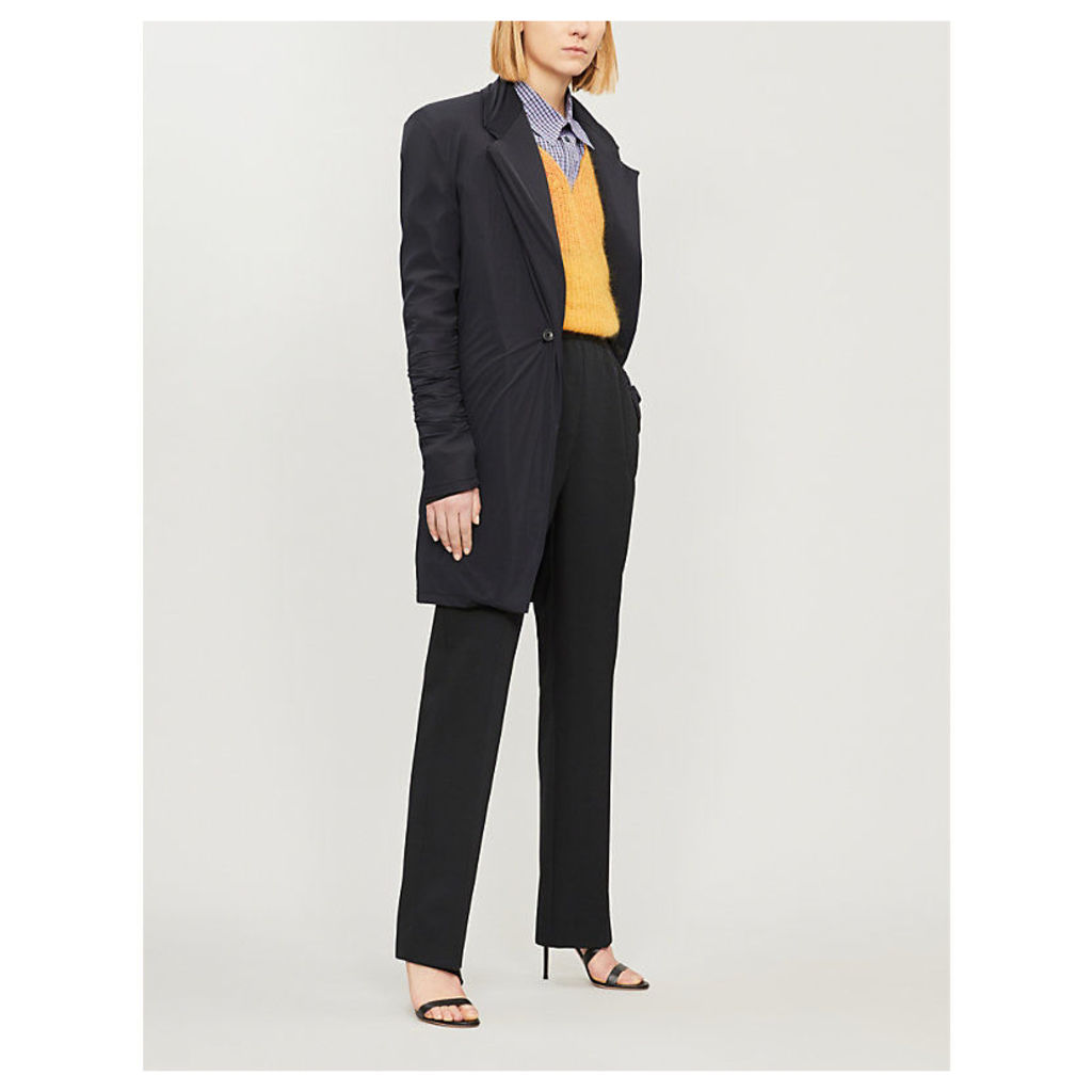 Layered longline wool-blend and stretch-jersey blazer