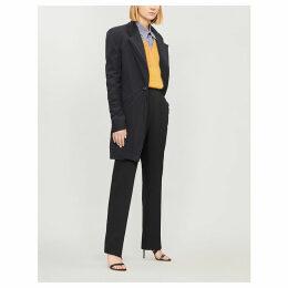 Layered longline wool-blend and stretch-jersey blazer