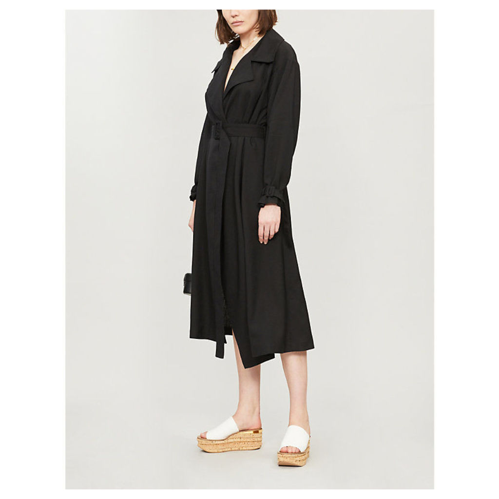 Belted woven trench coat