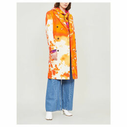 Tie-dye double-breasted cotton coat