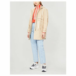 Drawstring cotton parka coat