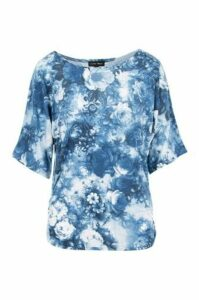 Oversized Rose Print Top