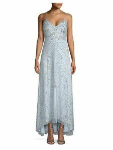 Swirl Pattern Beaded Gown