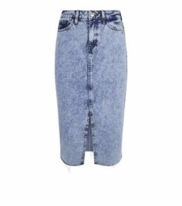 Blue Acid Wash Fray Hem Denim Midi Skirt New Look