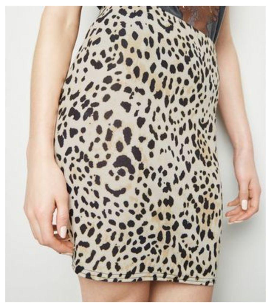 Tall Brown Leopard Print Tube Skirt New Look