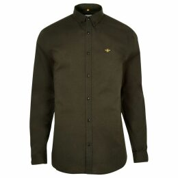 Mens River Island Khaki muscle fit embroidered Oxford shirt