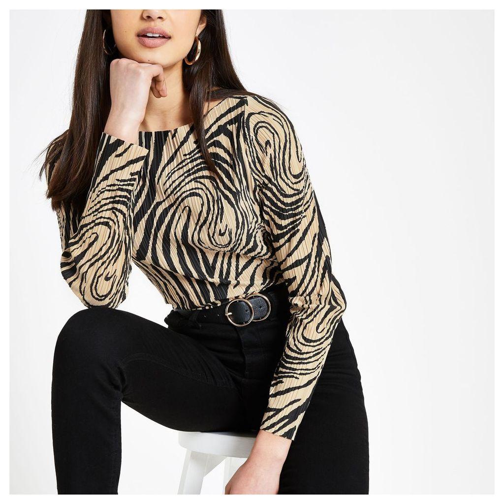 Womens Cream zebra print plisse top