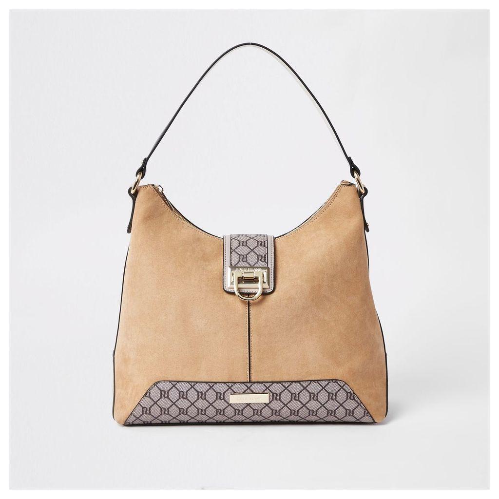 Womens Beige RI monogram lock front slouch bag