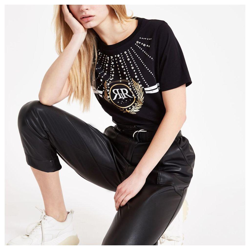 Womens Black RI diamante embellished T-shirt