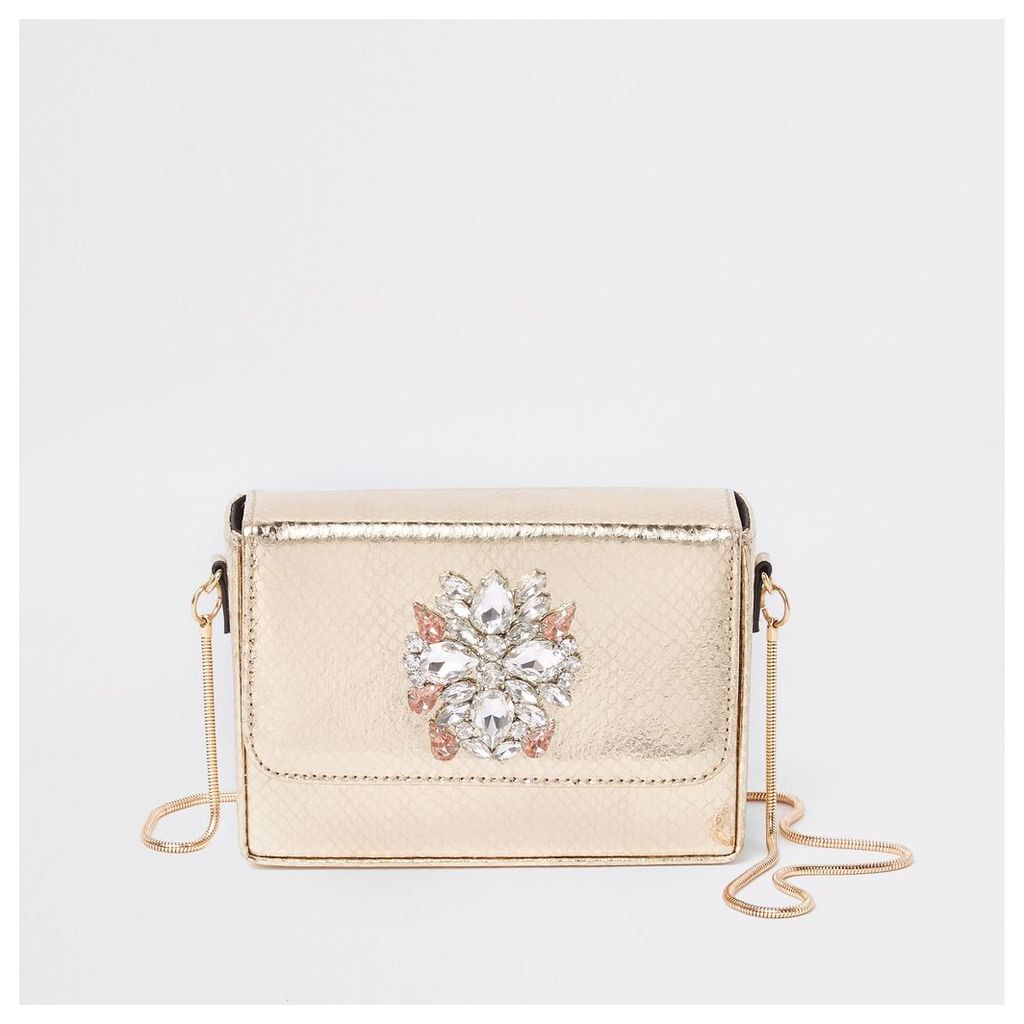 Womens Gold embellished mini boxy cross body bag