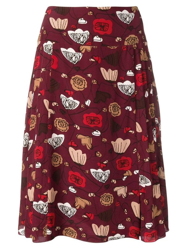 Salvatore Ferragamo Vintage 1990's abstract floral print skirt - Red