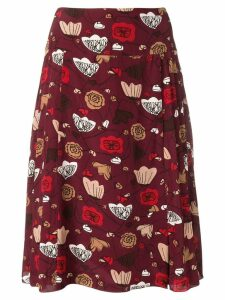 Salvatore Ferragamo Pre-Owned 1990's abstract floral print skirt - Red