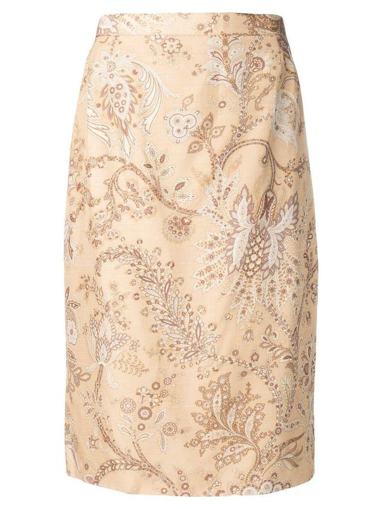 Valentino Vintage 1980's floral straight skirt - Neutrals