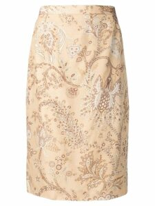 Valentino Pre-Owned 1980's floral straight skirt - Neutrals