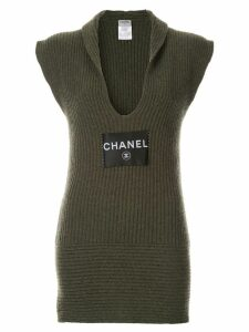 Chanel Pre-Owned rib knit sleeveless dress - Green