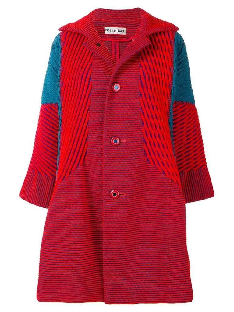 Issey Miyake Vintage cut-pile coat - Red