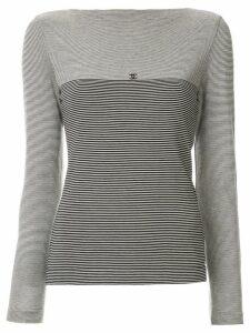 Chanel Pre-Owned CC border striped top - Black