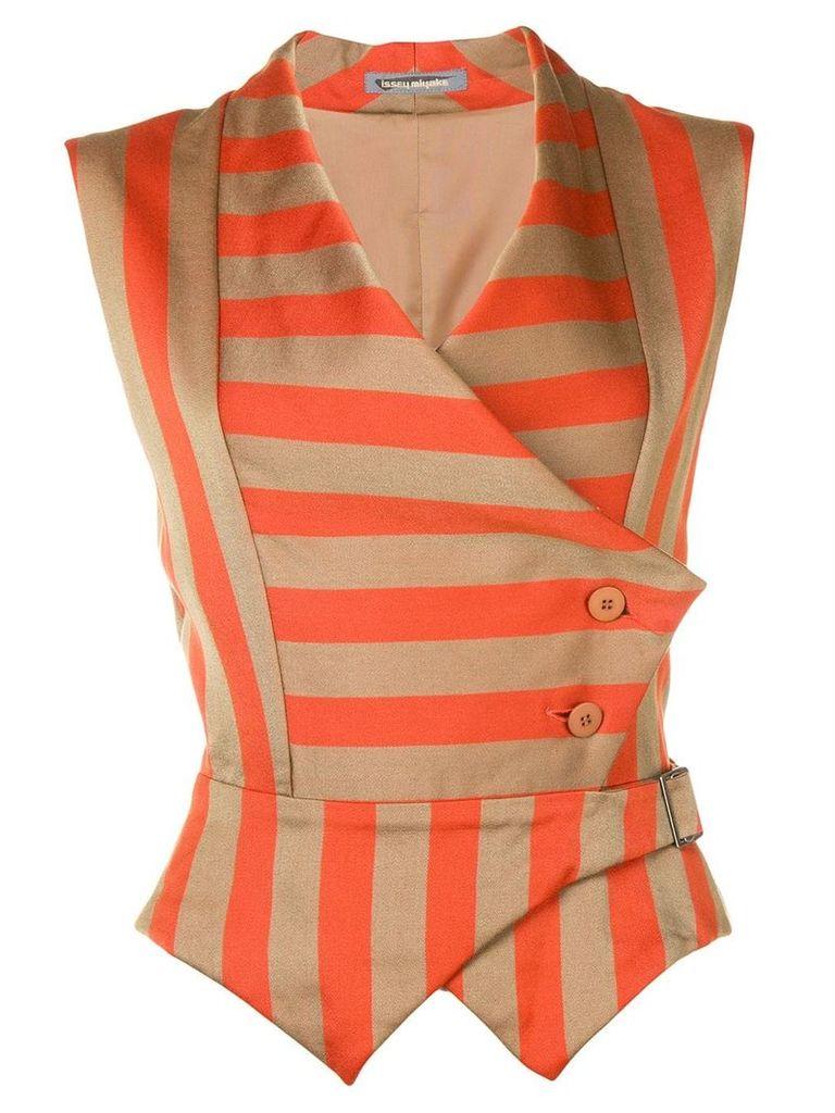 Issey Miyake Vintage striped waistcoat - Brown