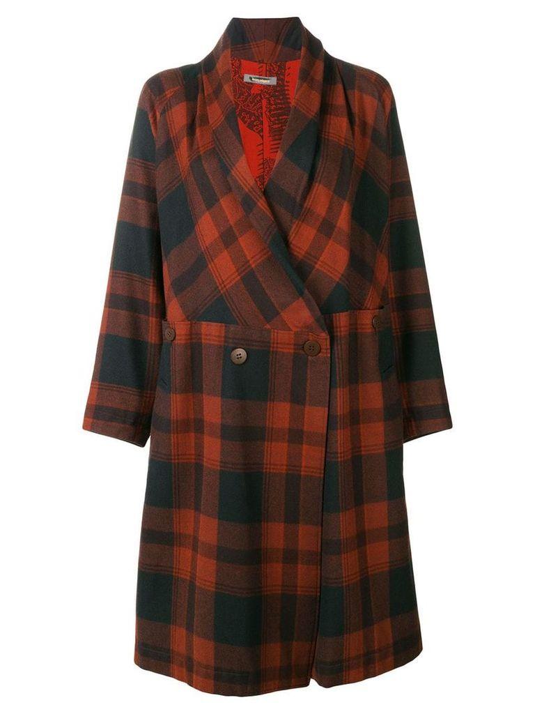 Issey Miyake Vintage belted plaid coat - Brown