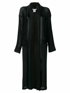 Issey Miyake Pre-Owned long pleated open front jacket - Black