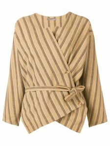 Issey Miyake Pre-Owned striped wrap blouse - Brown