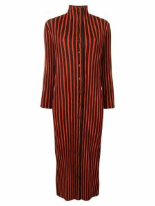 Issey Miyake Pre-Owned striped plissé turtleneck midi dress - Black