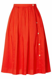 Alex Mill - Pleated Cotton-voile Midi Skirt - Red