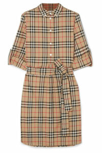 Burberry - Grosgrain-trimmed Checked Cotton-poplin Dress - Beige