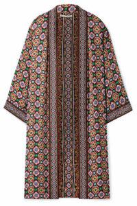 Alice + Olivia - Lynn Jacquard-trimmed Printed Crepe De Chine Kimono - Purple